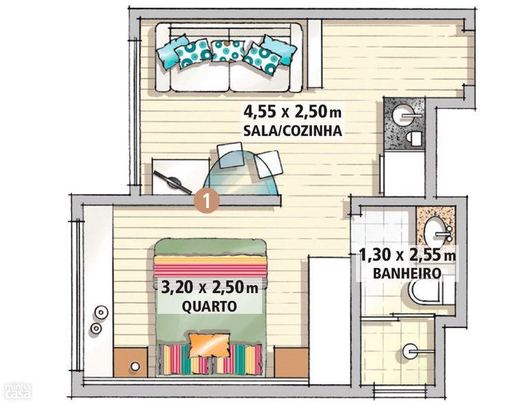 Marcenaria sob medida faz milagre em apartamento de apenas 25 m² - Casa - sapateira embaixo da janela
