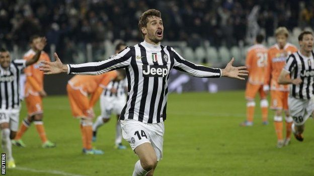 Juventus's Fernando Llorente celebrates after scoring against Udinese. Juventus 1- Udinese 0