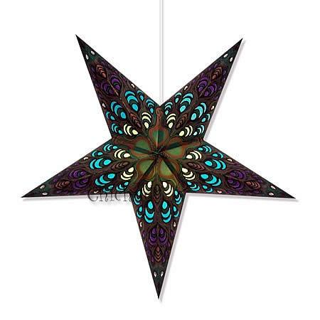 Paper Star Lamp Light Hanging Lantern Peacock Blue Purple Green w Hanging Cord | eBay