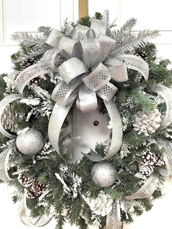 Christmas Wreath Free Us Shipping Silver Wreath Sparkly Christmas Wreath Evergreen Wreath Christmas Wreaths Holiday Wreaths Xmas Wreaths