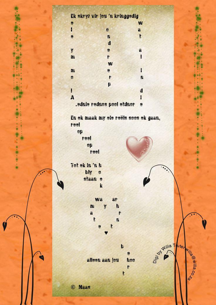 An Afrikaans poem by a poet I truly admire - a form poem - brilliant!  I did the digi - awesomeness.   Enjoy!