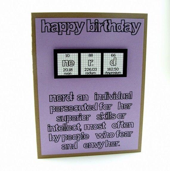 Nerd Birthday Card Purple Girl By Shopgibberish On Etsy 450