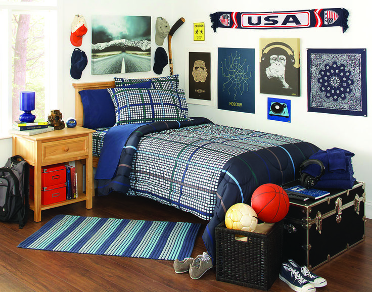 Bedding Dorm: The Navy Arcade #collegebedding Set Is A Popular Selection