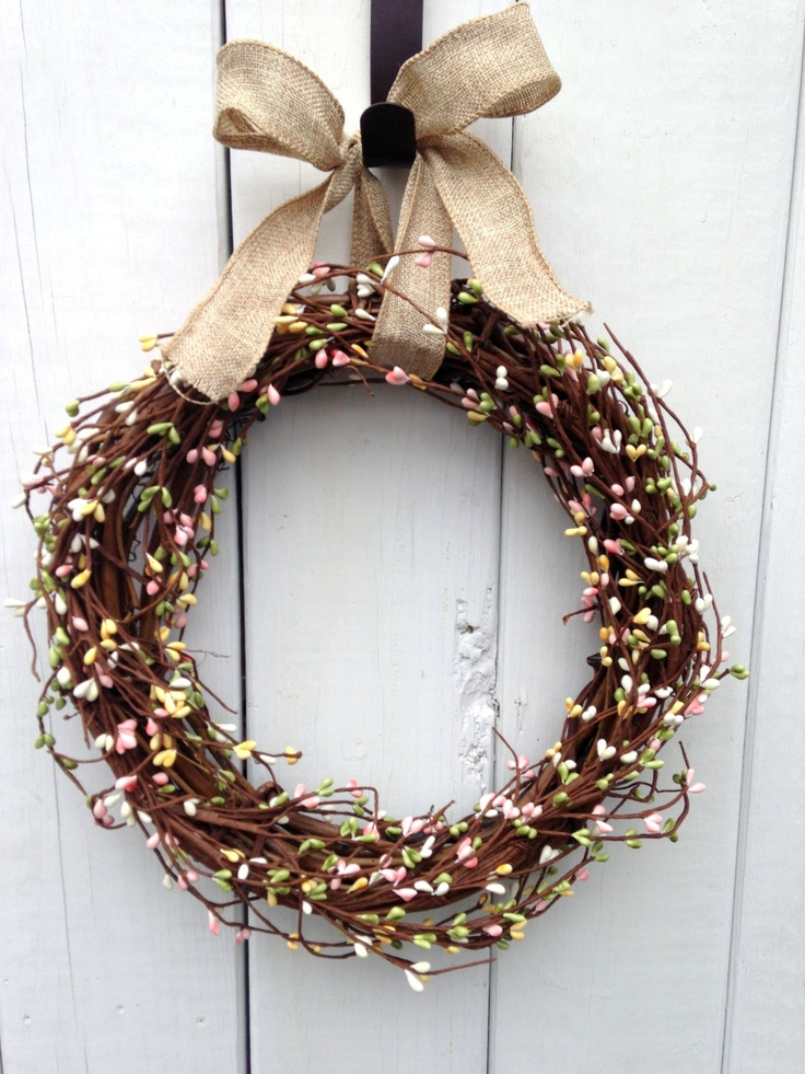 "13"" Rustic Wreath- Primitive Wreath- Country Wreath- Spring Wreath - Easter Wreath- Pink Wreath- Shabby Chic- Hand Crafted Wreath. $38.00, via Etsy."
