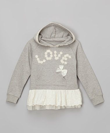 Look at this #zulilyfind! Gray Lace 'Love' Skirted Hoodie - Infant, Toddler & Girls #zulilyfinds