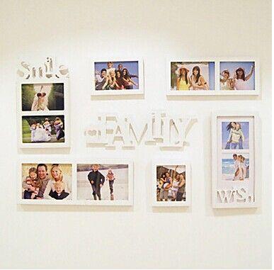 7 шт./лот деревянные фото для украшения дома рамы для картин для фото семья тема фото стены коллекция
