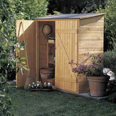 Storage Shed @Rob Cawte Thrasher  I want something like this down below so we can store yard tools in both front and back.  I'm going to move all the yard tools out of the garage and put them either in the greenhouse or in the shed in the back yard.  We don't need to keep them in the garage.