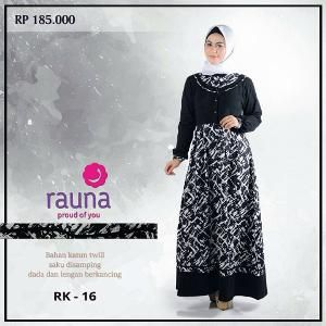Baju Gamis Muslim Rauna Model RK-016 Hitam