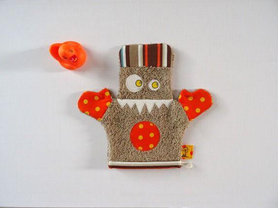 Gant de toilette fantaisie, marron, orange et jaune - Monstre