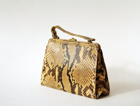 Vintage Leather Purse Handbag 50s  60s Handbag by VintageStall, $68.00