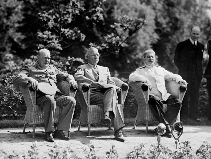 July 17,  1945: POTSDAM CONFERENCE BEGINS  -   Winston Churchill, Harry S. Truman and Joseph Stalin, meet in the German city of Potsdam to decide the future of defeated Germany.