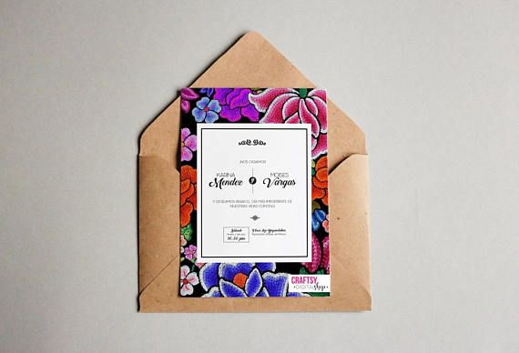 Mexican Style Wedding Invitations With Oaxacan Flowers
