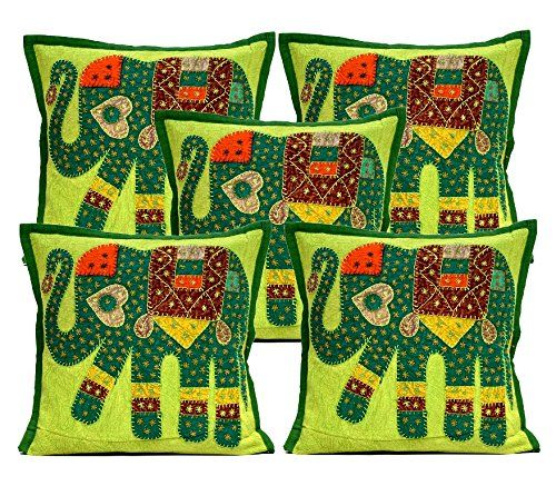 5 Green Applique Patchwork Ethnic Indian Elephant Throw Pillow Cushion Covers Krishna Mart India http://www.amazon.com/dp/B011RKTGLU/ref=cm_sw_r_pi_dp_LCaywb1CMA5M2