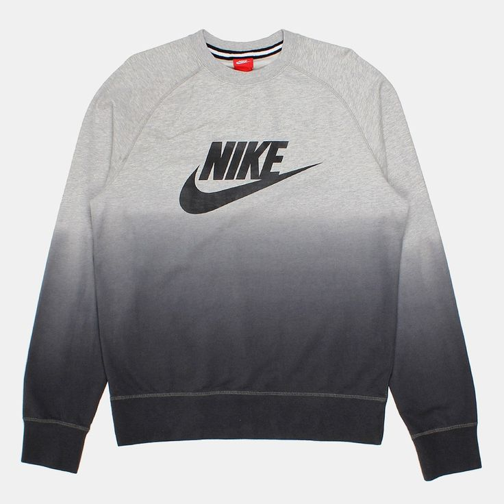 Nike AW77 French Terry Fade Crewneck Sweatshirt - Grey/Black