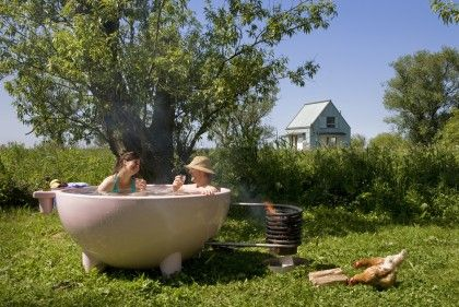 A Portlandia skit idea with a portable hot tub and chickens!