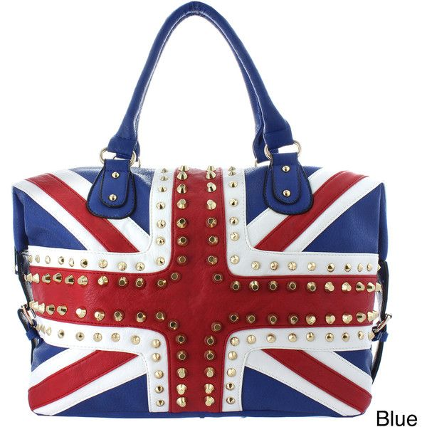 Oasis Handbag 'Gianna' Studded UK Flag Tote ($49) ❤ liked on Polyvore featuring bags, handbags, tote bags, purses, bolsas, leather totes, faux leather purses, red hand bags, leather man bags and faux leather tote bag