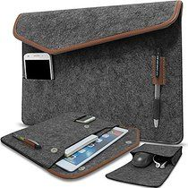ACECOAT Felt Portable Laptop Sleeve Case Pouch Cover Bag For 12.9 Inch iPad Pro / 13.3 Inch MacBook Air / Pro Retina 13 - 13.3 Inch Ultrabook Netbook Tablet Computers With Pockets - Dark Gray