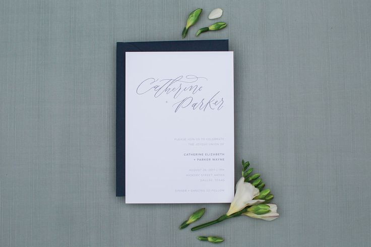 """Semi-custom suites are designed for couples who desire an artisan touch for their paper goods, at a more affordable investment than a completely custom design. """"The Catherine"""" is a minimalistic suite designed with clean lines and sans serif typography for the modern bride.  Petite Suites Include: Invitation + Reply Card  www.sarahanndesign.co/semi-custom"""
