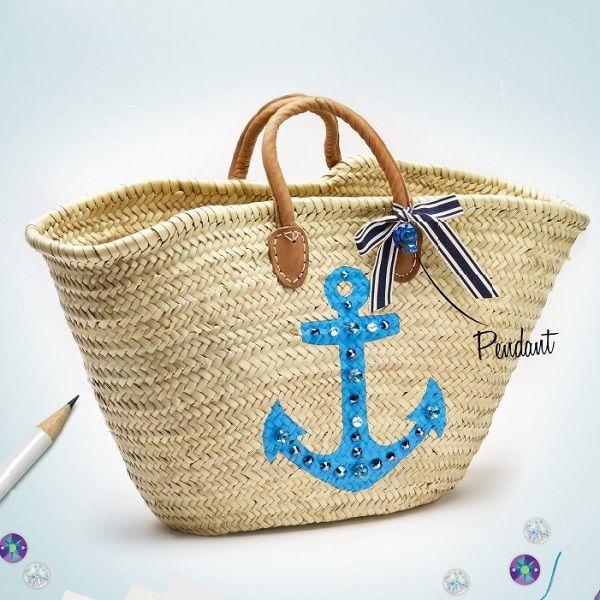 Customiser son panier en osier avec des perles à coudre swarovski et motif ancre marine