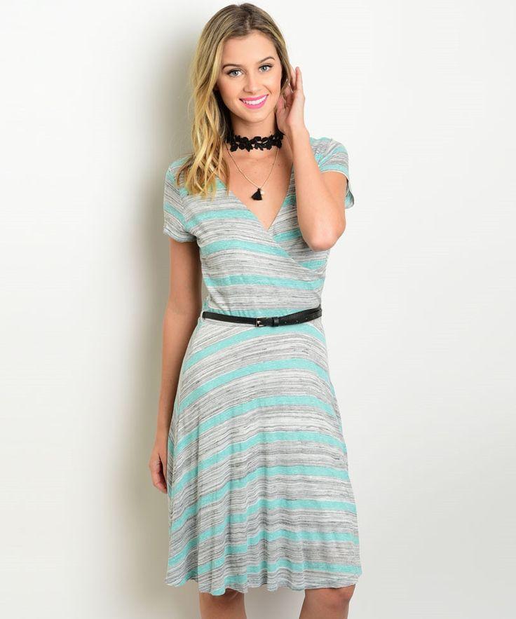 Gray Mint Striped A Line Dress