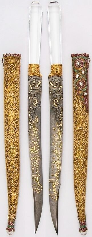 Indo-Persian dagger, Persian blade dated 1738 to 1739, Ottoman hilt and scabbard, 19th century, steel, gold, rock crystal, ruby, emerald, H. with sheath 19 1/2 in. (49.5 cm); H. without sheath 18 1/4 in. (46.4 cm); H. of blade 12 1/2 in. (31.8 cm); W. 1 1/8 in. (2.9 cm); D. 7/8 in. (2.2 cm); Wt. 9.5 oz. (269.3 g); Wt. of sheath 6.2 oz. (175.8 g), Met Museum.