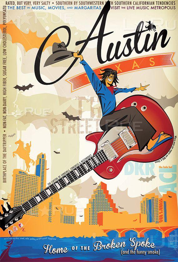 "Vintage Style Art Poster ""Austin Texas music Poster - Broken Spoke & Funny Smoke "" print - Lance LaRue"