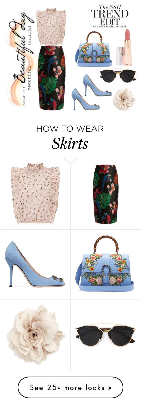 """""""Tropical Skirt"""" by stylish-sparkles on Polyvore featuring Gucci, Christian Dior, LAQA & Co., Cara and Valentino"""