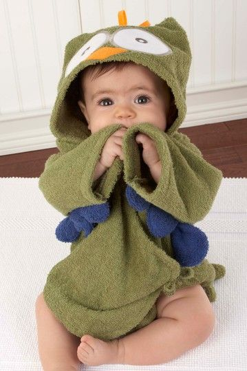 """My Little Night Owl"" Hooded Terry Spa Robe (Green) - perfect for"