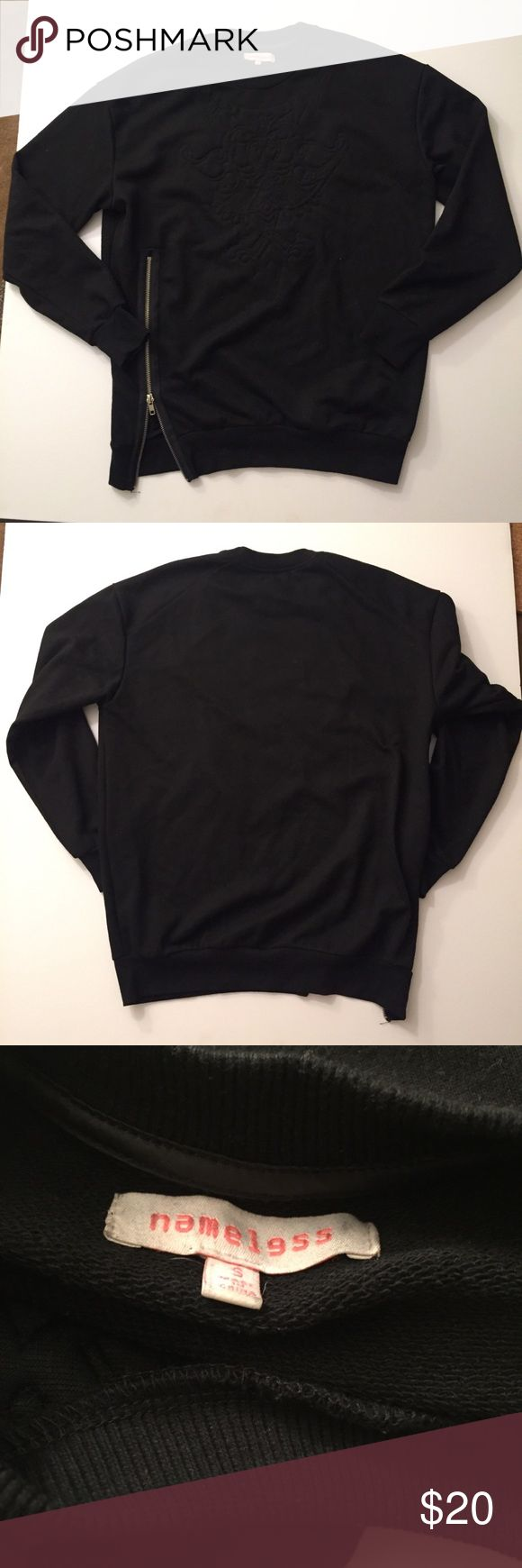 Nameless: side zip black sweater-S Very good condition size small.  Brand is nameless Tags: mura, tiger mist, showpo, sabo skirt, white fox, missguided, h and m, hello Molly, Stelly, hot Miami styles, fashion nova, princess Polly, verge girl, pop cherry, forever 21, Nordstrom, revolve nameless: Sweaters Crew & Scoop Necks