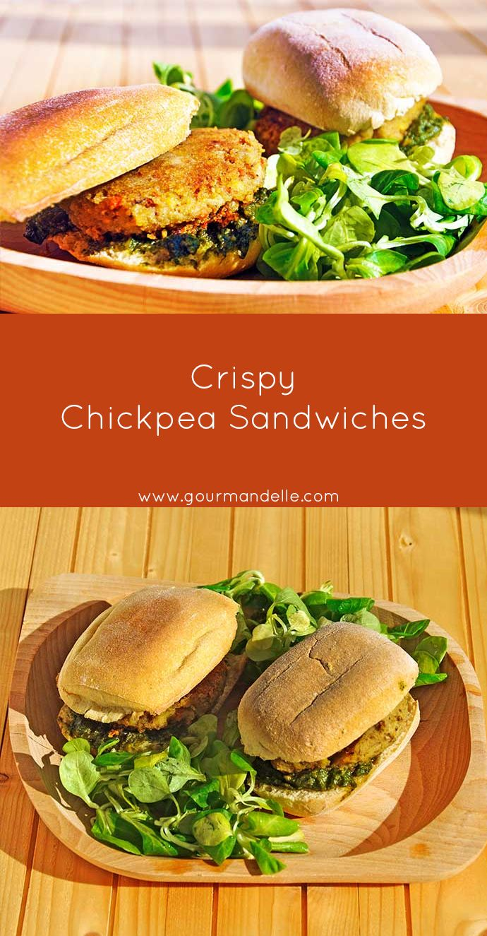 These chickpea sandwiches are bursting with flavors! I love the fact that the chickpea patties are extra-crispy! They're perfect for lunch at school or work! | http://gourmandelle.com/crispy-chickpea-sandwiches/