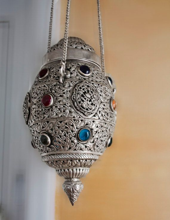 Silver Plated Moroccan Ceiling Light Fixture Chandelier, Vintage Moroccan Lamp, Ceiling Lighting  Fixture. $249.00, via Etsy.
