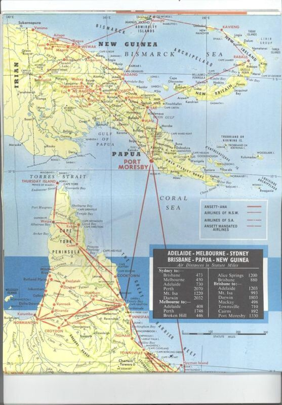 ansett ana airlines route map brochure 1960s