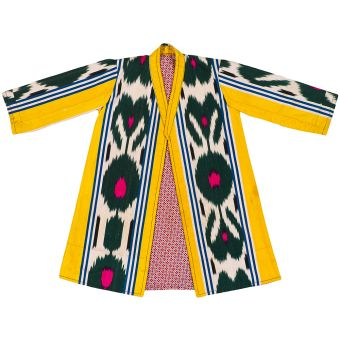 """Uzbec ckild's ikat robe - 32"""" length x 44"""" cuff to cuff Silk warp/cotton weft Lined with printed cotton Very good condition except for a few stains on left arm and bottom hem (see bottom two photos); fabric strong with no splits or color runs; retains original sheen and moire - Susan Meller 