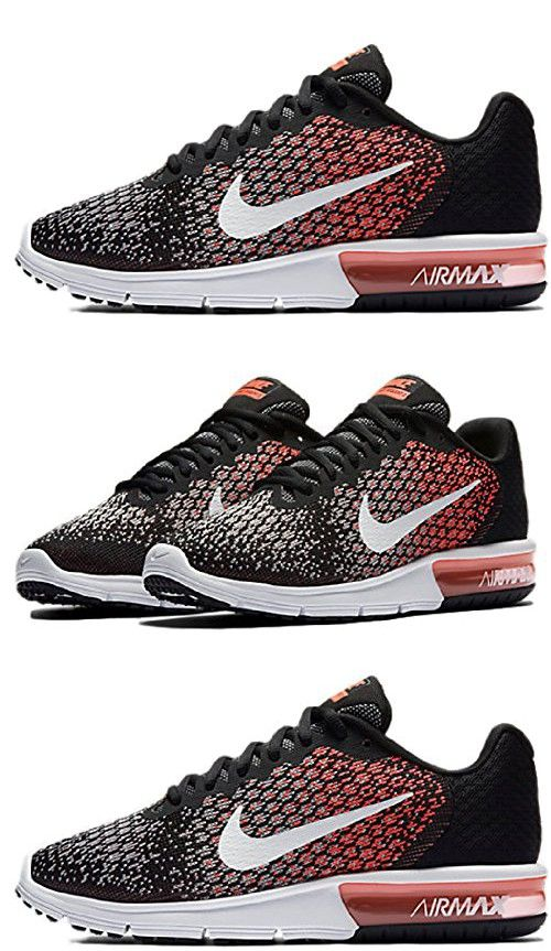 Nike Womens Air Max Sequent 2 Running Shoes Black/White/Racer Pink 852465-004 Size 6