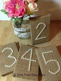 DIY burlap table numbers and pearls #rustic table numbers #hessian table numbers #burlap wedding ideas