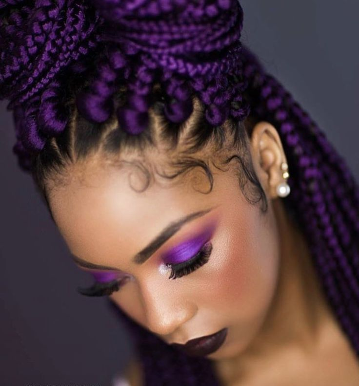 Yass purple box braids by @queen_keedy - https://blackhairinformation.com/hairstyle-gallery/yass-purple-box-braids-queen_keedy/