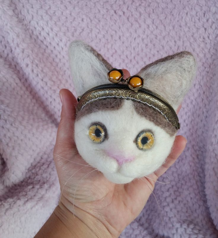 Needle felted pouche / cat coin purse by HappyFeltingHour on Etsy