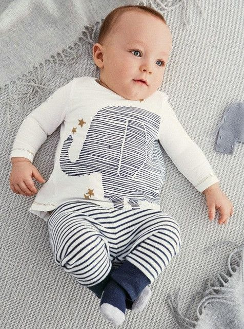 baby Boy Long-sleeved elephant T-shirt + striped pants