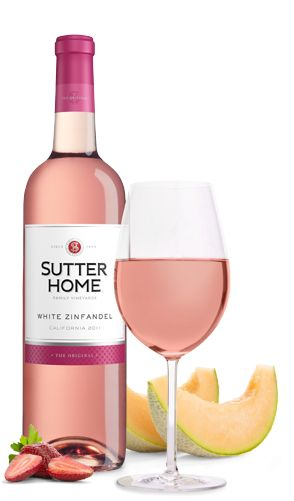Sutter Home's White Zinfandel Wine - 5 servings per 750ml container, 108 Calories per serving, medium sweet (cheap, sweet blush wine)