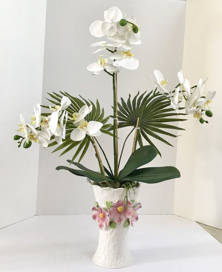 86 best decorative silk flower arrangements images on pinterest this nature land candles offering is for a beautiful oriental silk orchid floral arrangement in a basket weave vase we used three white orchids with two mightylinksfo
