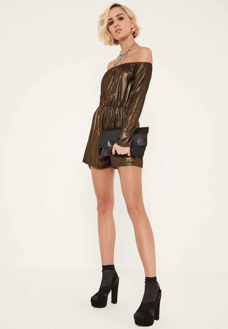 Add some shine to your evening game with this bronze metallic playsuit - featuring long sleeves and a Bardot neckline.