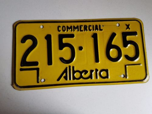 Vintage Canadian Licence Plate Canada Alberta Yellow Commercial 215-165