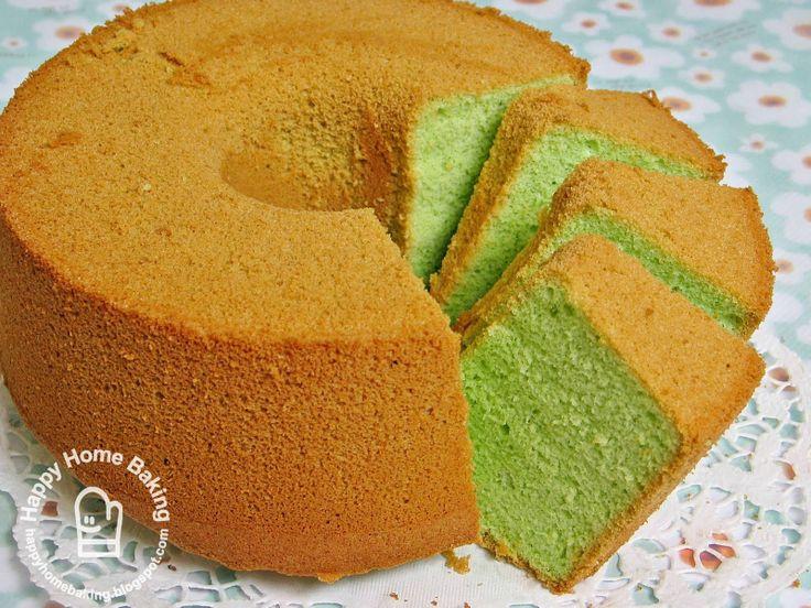 Pandan Chiffon Cake, delicious green coconut flavored cake.
