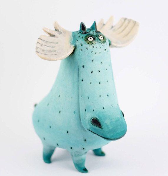 Ceramic sculpture Moose Sculpture Moose
