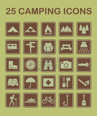 Camping icons (probs won't need them looking all stylish at our glampsite)