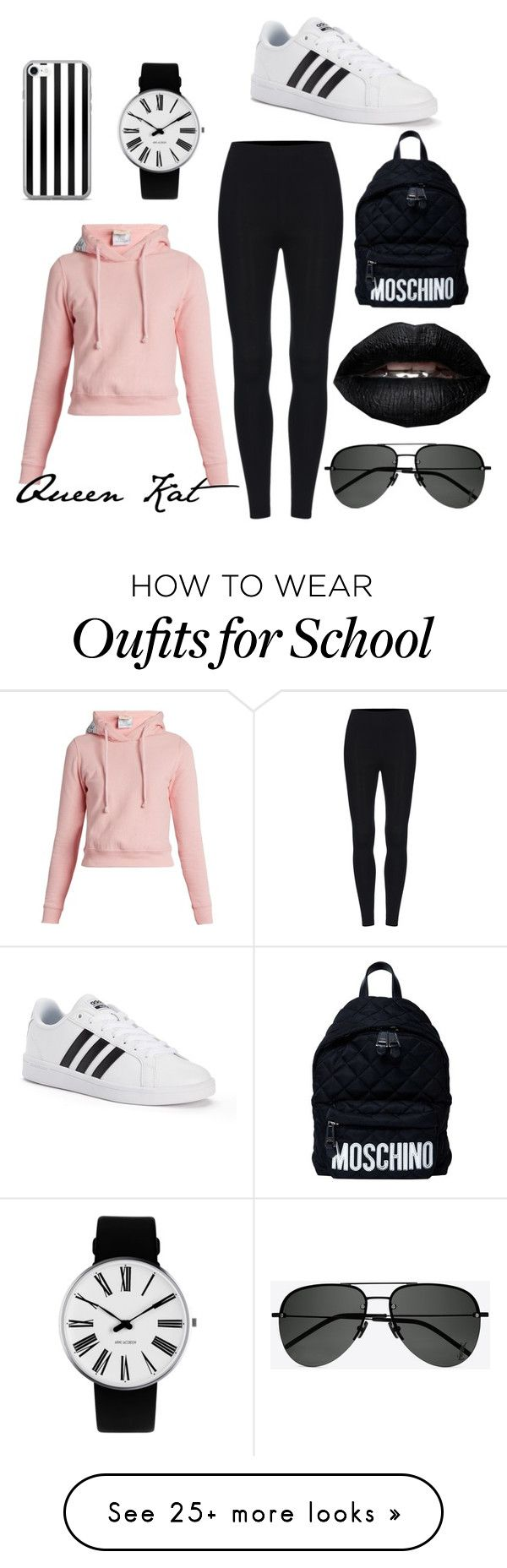 """""""School outfit"""" by queenkatttt on Polyvore featuring Vetements, Yves Saint Laurent, adidas, Rosendahl and Moschino"""