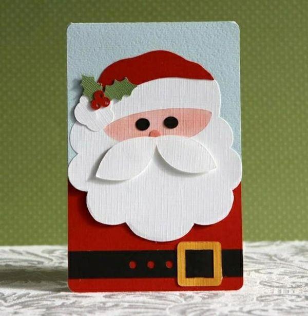 einfache weihnachtskarten basteln weihnachtsmann