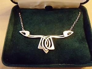 BOXED, OLA M GORIE, SCOTTISH CELTIC AND MACKINTOSH INSPIRED SILVER NECKLACE