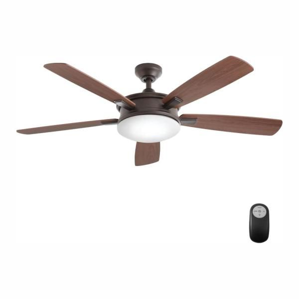 Home Decorators Collection Daylesford 52 In Led Indoor Oiled Rubbed Bronze Ceiling Fan With Light Kit An Bronze Ceiling Fan Ceiling Fan With Light Ceiling Fan