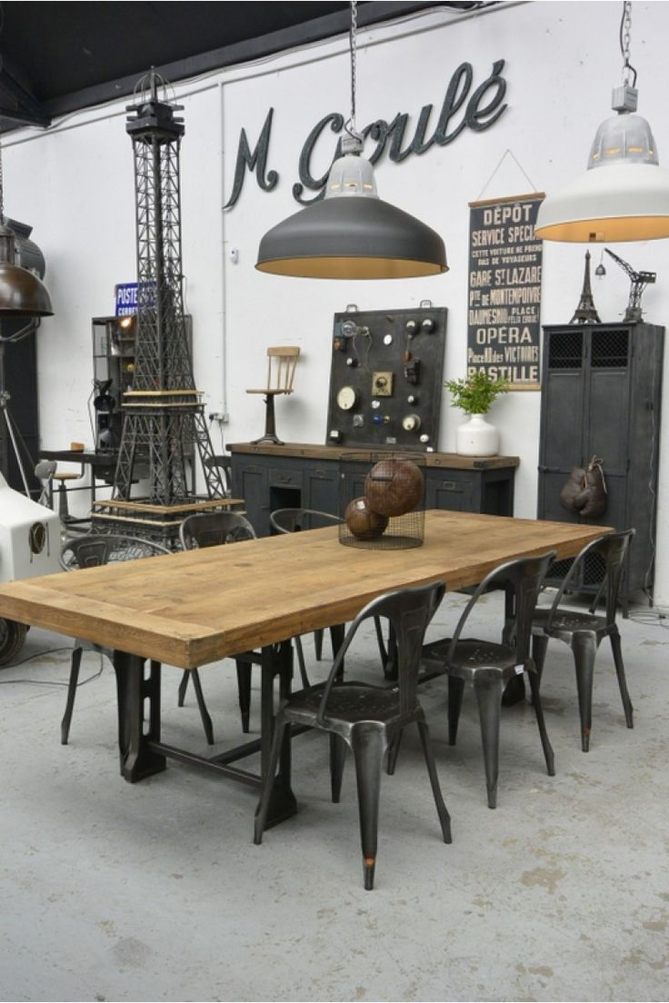 Table industrielle en 2019 cuisine table industrielle salon style industriel et meubles - Meuble industriel loft ...